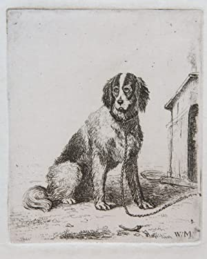 Etching on chine collé/ets: Dog on a chain (Hond aan ketting).