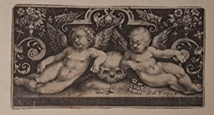 Two putti and a skull