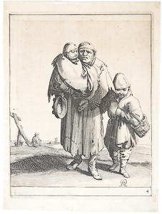 Etching/ets: Three beggars [4] (Set title: Beggars and Peasants, 26 plates)/Drie bedelaars, uit d...