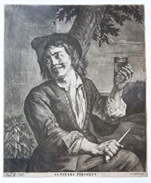 [Mezzotint} Smiling young man with a glass in his hand (Lachende jonge man met glas in zijn hand).