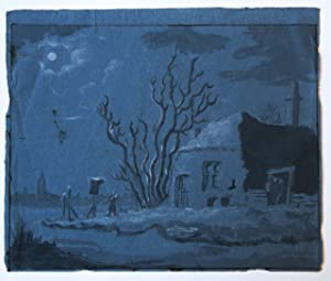 [Antique drawing/tekening] A farm in the moonlight (boerderij in het maanlicht).