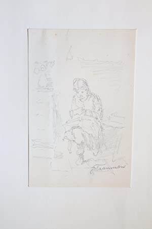 [Antique drawing/Tekening] Woman seated (probably) sewing (Zittende vrouw met handwerkje).