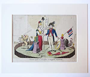 [Spotprent/Satirical print handcoloured] Alliantie tusschen de Franschen en Bataafsche Republiken.