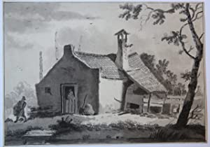 [Antique drawing/tekening] A farm in the sun (boerderij in de zon).