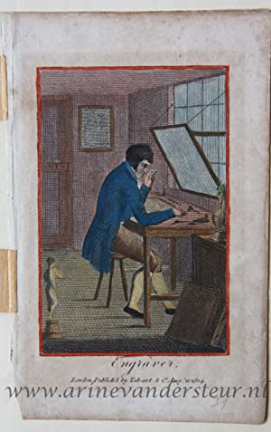 [Handcolored engraving/handgekleurde gravure] Engraver. [The book of Trades]/Graveur.