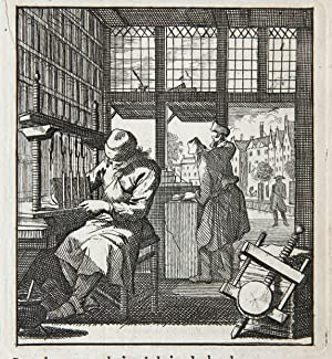 Antique print/originele prent: De Boekebinder/The Book binder.