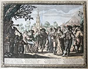 [Handcolored etching and engraving/Handgekleurde ets en gravure] Marriage procession (Set title: ...
