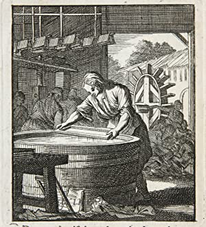 [Antique print/originele prent] De Papiermaaker/The Paper maker.