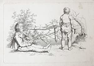 [Antique etching/ets] Study print: two children in the open air. [Etudes gravées de Jacob Ernst M...