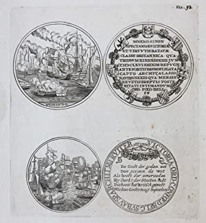 [Original etching and engraving/ets en gravure] Gedenkpenning Vierdaagse Zeeslag; medal Four Days...