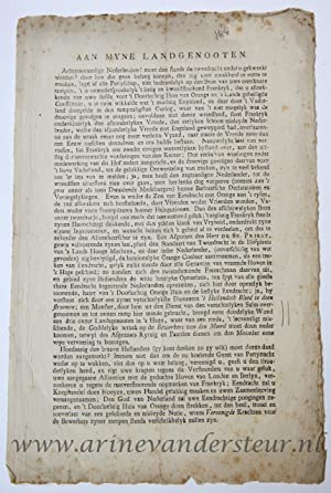 Pamphlet. Publicatie. With title: Aan Myne Landgenooten. With in the text: Achtenswaardige Nederl...