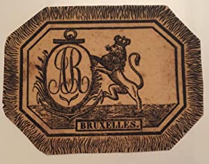 Vignet with Bruxelles printed in the text underneath a lion holding an oval with the letters A.R....