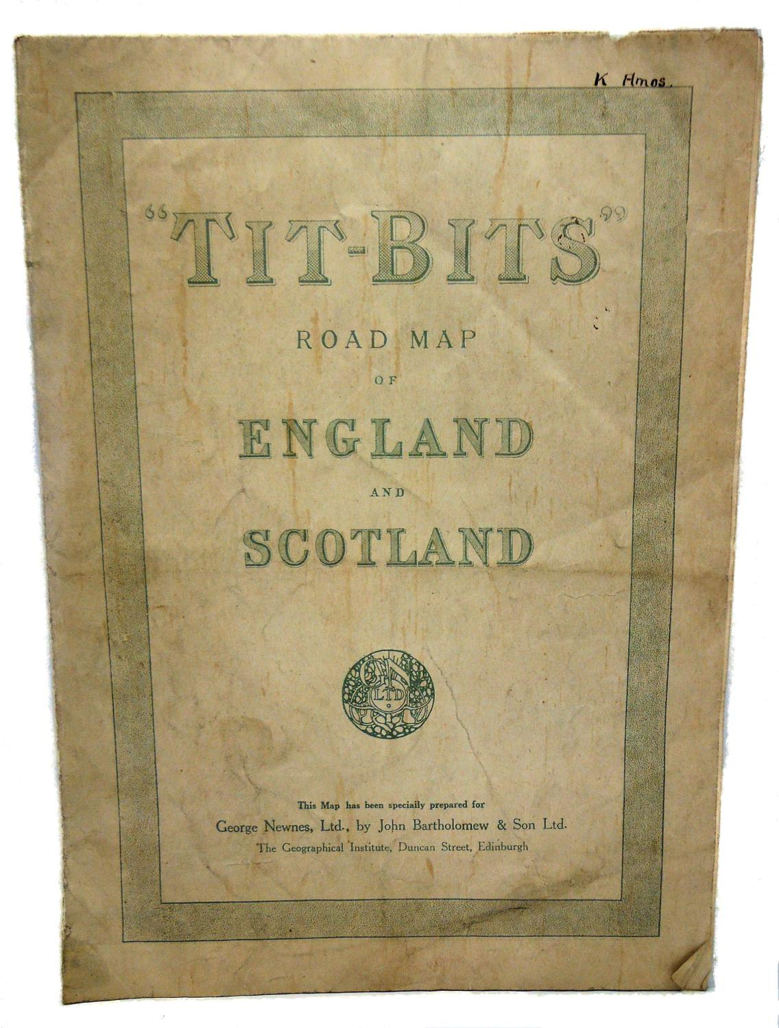 Road Map Of England And Scotland.Tit Bits Road Map Of England And Scotland By George Newnes Ltd
