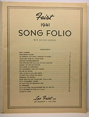 FEIST 1941 SONG FOLIO WITH GUITAR CHORDS: Leo Feist inc.