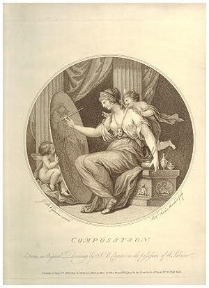 "Composition"" Mezzotinto-Radierung nach Giovanni Battista Cipriani* von Rob. Sam. Marcauro &..."