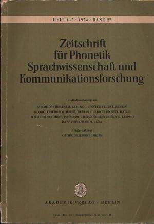 Zeitschrift für Phonetik Sprachwissenschaft und Kommunikation Form,: Meier, Georg Friedrich: