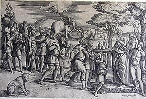 Melchisedek bietet Abraham Brot und Wein an.: Franco, Giovanni Battista. (genannt Semolei, 1498 - ...