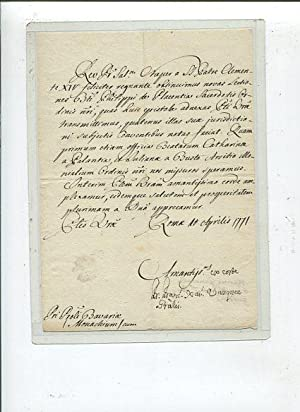 Francisco Xavier Vasquez. Superior General of the Augustinian Hermits. Letter signed, on page, 8v...
