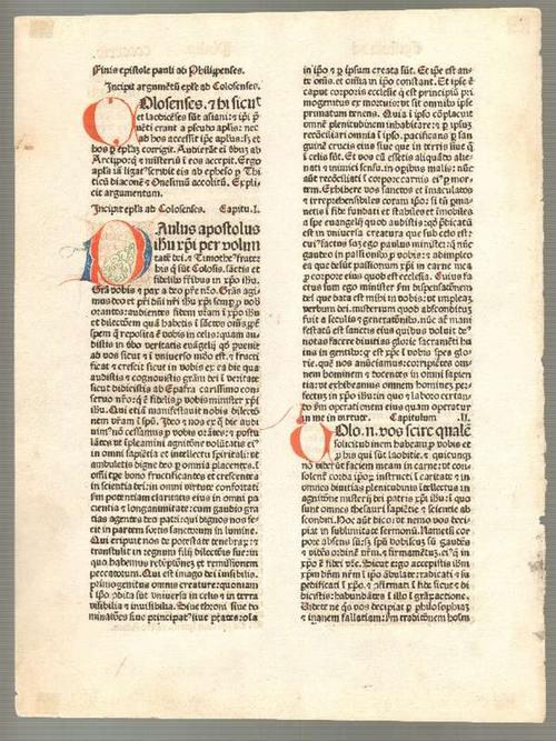 Biblia. - Inkunabel-Einzelblatt CCCCXXIX aus einer Bibel,