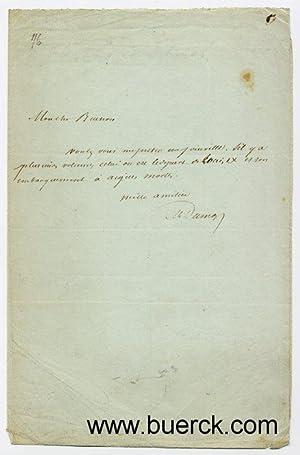 Vierzeiliger, eigenhändiger, voll signierter Brief. Französische Handschrift: Dumas (Père), Alexandre,