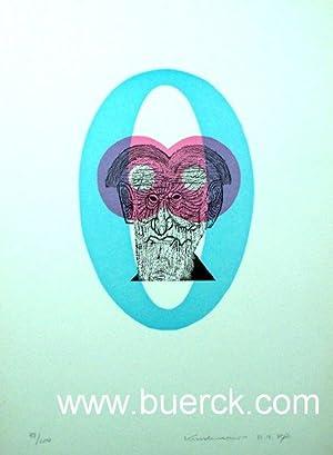 Ohne Titel (Männerkopf hinter rosaroter Brille). Farbiger: Kuschnerus, Sigurd