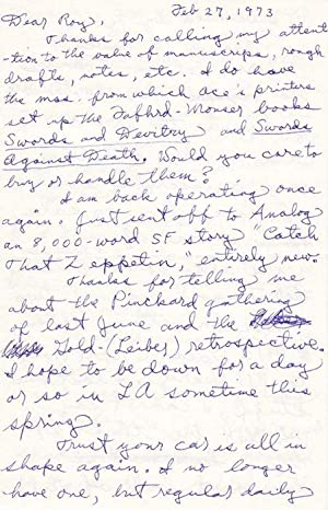Autograph letter to the bookseller, printer and publisher Roy A. Squires, 4 pages, dated Feb 27, ...