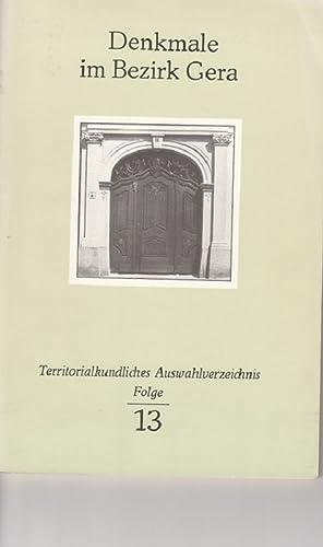 Denkmale im Bezirk Gera. Territorialkundliches Auswahlverzeichnis, Folge: Kloss, Jutta: