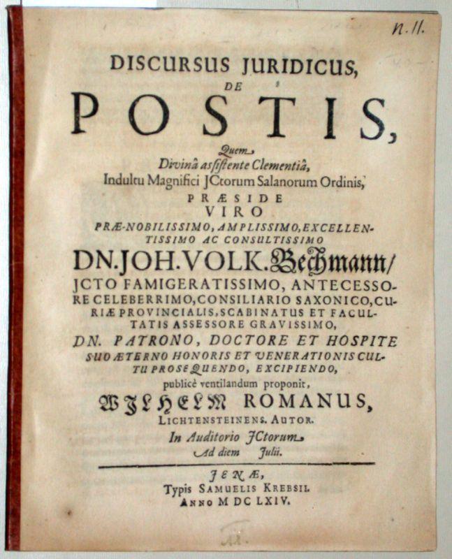 Discursus Iuridicus, De Postis.: Bechmann, Joh. (Johann)