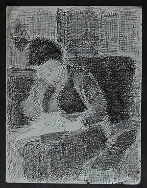 Lesende Frau Auf Einem Sofa. Orig. Federzeichnung / Tuschezeichnung. Rechts  Unten Monogrammiert.