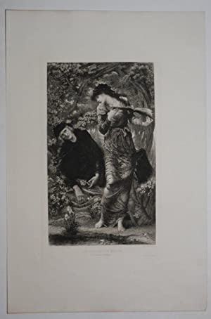The Beguiling of Merlin (Grosvenor Gallery). Orig. etching, published in 'L'Art', 1877, vol. X, p...