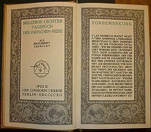 Tagebuch der indischen Reise. Als Manuskript gedruckt.: Lechter, Melchior