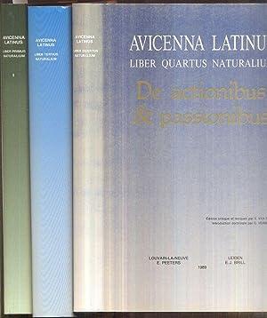 Avicenna latinus. Liber primus/tertius/quartus naturalium. Édition critique