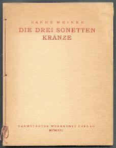 Die drei Sonettenkränze.: Meinke, Hanns: