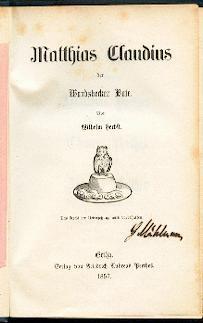 Matthias Claudius, der Wandsbecker Bote.: Herbst, Wilhelm: