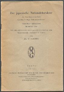Der japanische Nationalcharakter.: Gundert, W.: