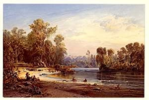 Pilgerbad im Jordan.: Hildebrandt, E[duard] (1817-1868):