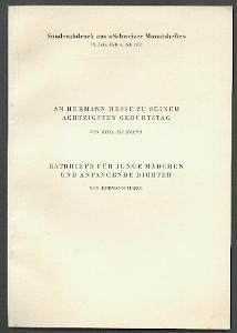 Ratbriefe für junge Mädchen und anfangende Dichter.: Hesse, Hermann: