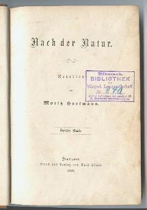 Nach der Natur.: Hartmann, Moritz: