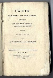 Iwein, der Riter mit dem Lewen.: Hartmann von Aue: