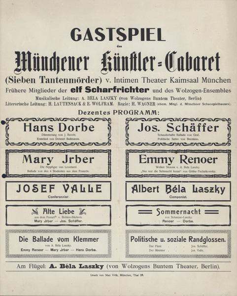 [Plakat] Gastspiel des Münchener Künstler-Cabaret (Sieben Tantenmörder) v. Intimen ...