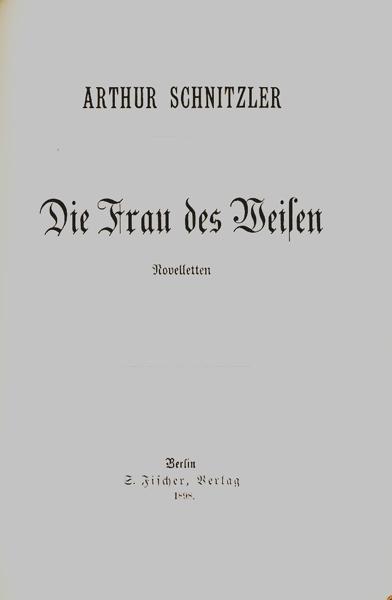 Die Frau des Weisen. Novelletten.: Schnitzler, Arthur.