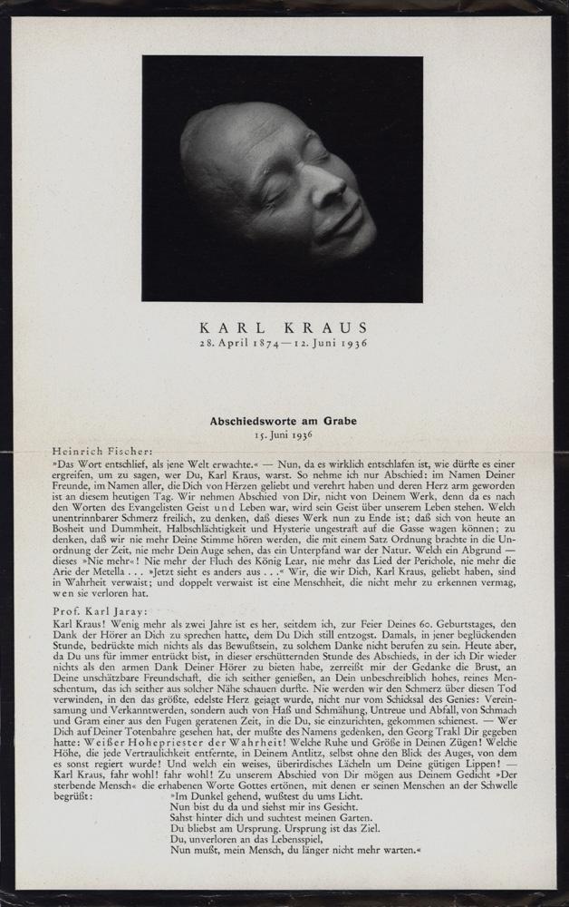 Abschiedsworte am Grabe 15. Juni 1936.: Kraus, Karl -