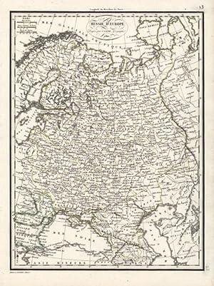 Russie d'Europe. Kupferstichkarte, grenzkoloriert.: Russland - Lapie, Pierre (1779-1850).
