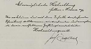 Brief mit eigenh. U. Wien, Februar 1910. 1 1/2 S. 4°.: Engelhart, Josef, Maler (1864-1941)...