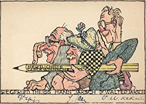 Neujahrskarte (1958).: Theiss & Jaksch - Theiss, S(iegfried), Hans und Walter Jaksch.