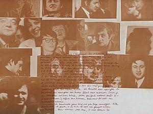 Faksimiliertes Schreiben, Berlin (1977). 20 Zeilen Rotdruck der Handschrift auf Plakat (Collage von...