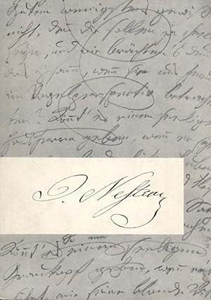 Johann Nestroy. Ausstellung anläßlich der hundertsten Wiederkehr seines Todestages. Juni...
