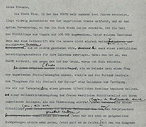 Typoskript mit eigenh. Einschüben. (Wien, November 1956). 3 S. 4°. Gelocht.: Ungarn 1956 -...