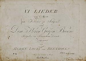 VI Lieder / von Gellert / am: Beethoven, Louis van.