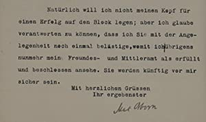 Brief mit eigenh. U. Berlin 3.12.1909. 2 S. 8°.